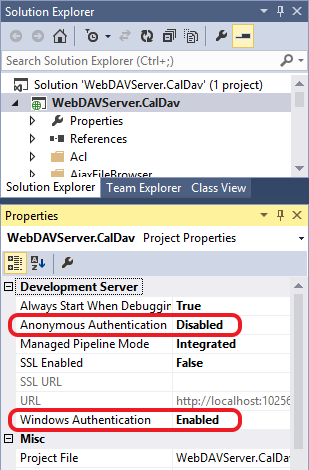 Demonstrates where you can set up authenticatin for your calendar server in Visual Studio / IIS Express