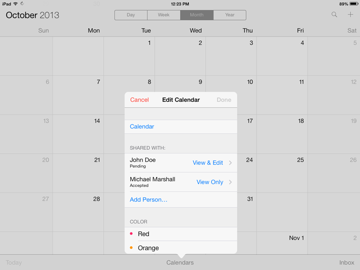 Apple iCal 'Share With' feature