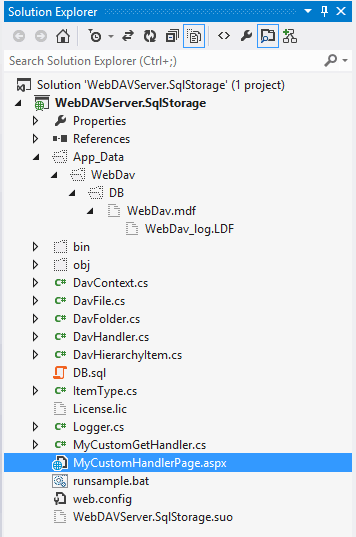 Demonstrates the location of database file WebDav.mdf in case you have installed Microsoft SQL LocalDB