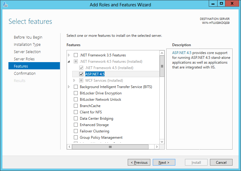 Select ASP.NET 4.5 feature during the configuration of WebDAV server