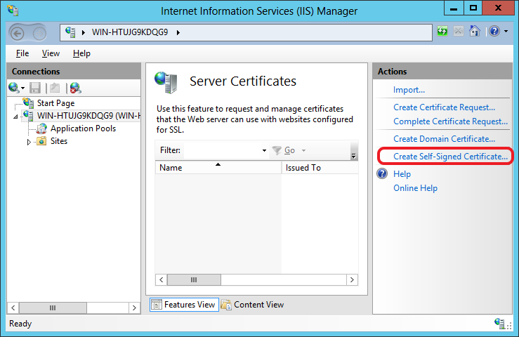 Click on Create Self-signed certificate