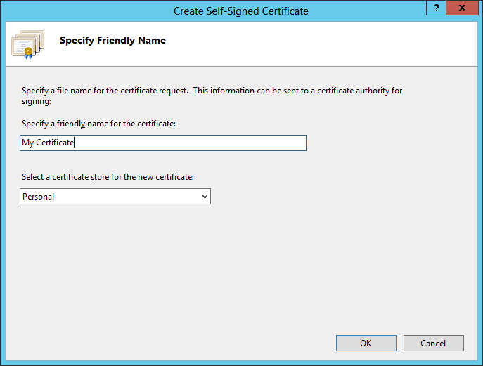 Enter the certificate name and click OK
