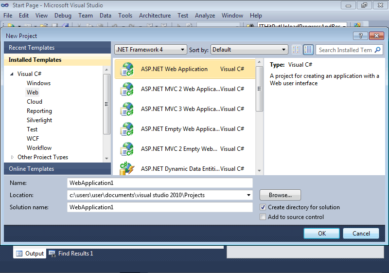 Creation of the ASP.NET Web Application
