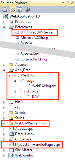 Created the WebDAVServerImpl, added \App_Data\WebDAV\Storage\DAV\ and created \App_Data\WebDAV\Logs\ folders