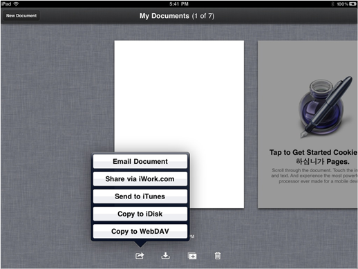 In Pages, Keynote or Numbers go to 'My Documents' and select 'Copy to WebDAV'