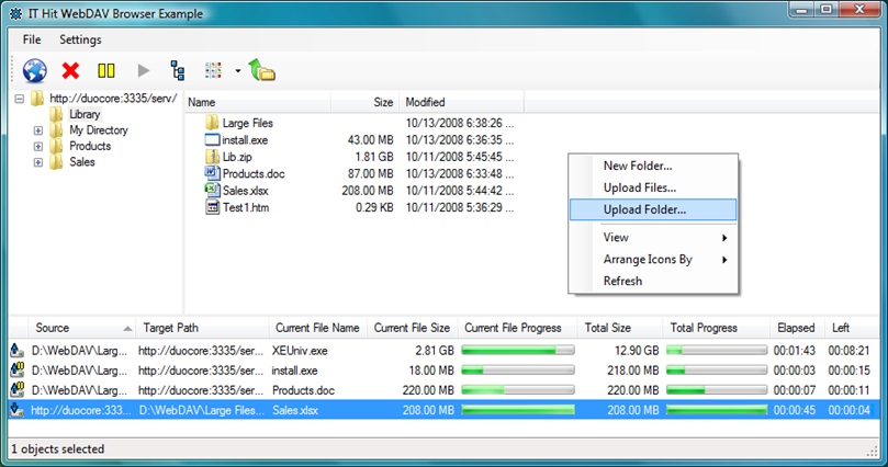 How to upload the file/folder in WebDAV Browser