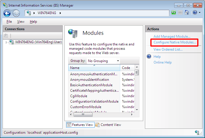 Click Configure Native Modules