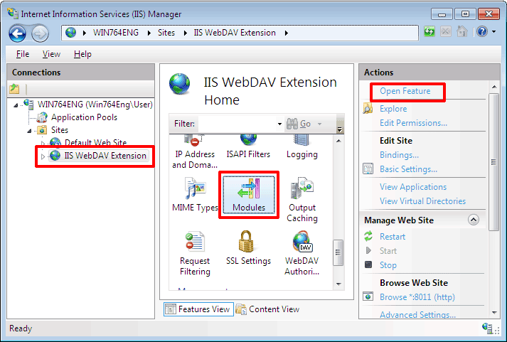 Go to Website on which Microsoft IIS WebDAV Extension is enabled. Select Modules, click Open Feature link
