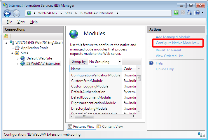 In Modules click Configure Native Modules link