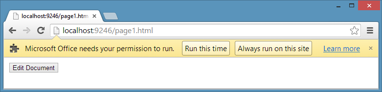 Click Run this time or Always run on this site in Google Chrome