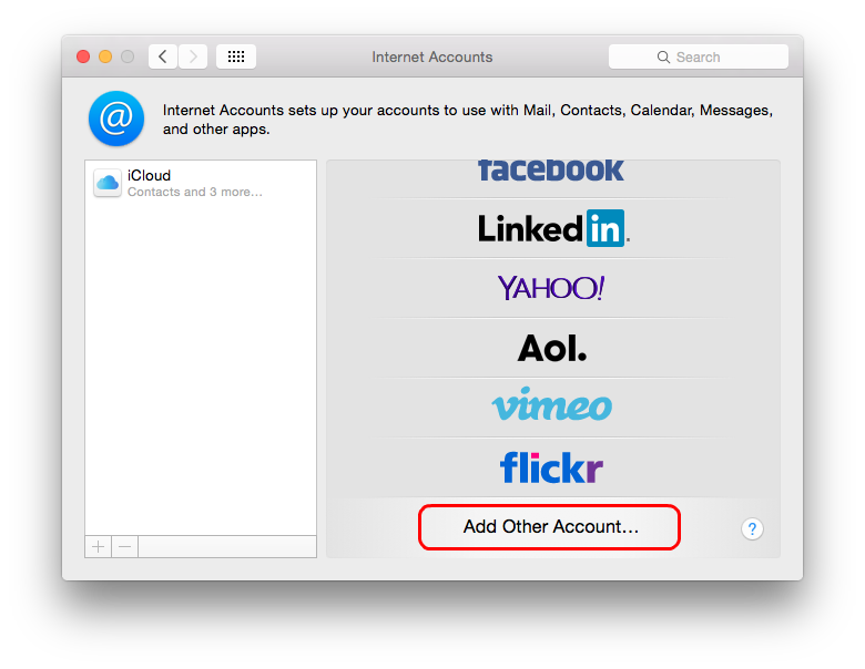 In Internet Accounts dialog select Add Other Account