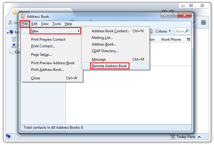 Select File -> New -> Remote Address Book