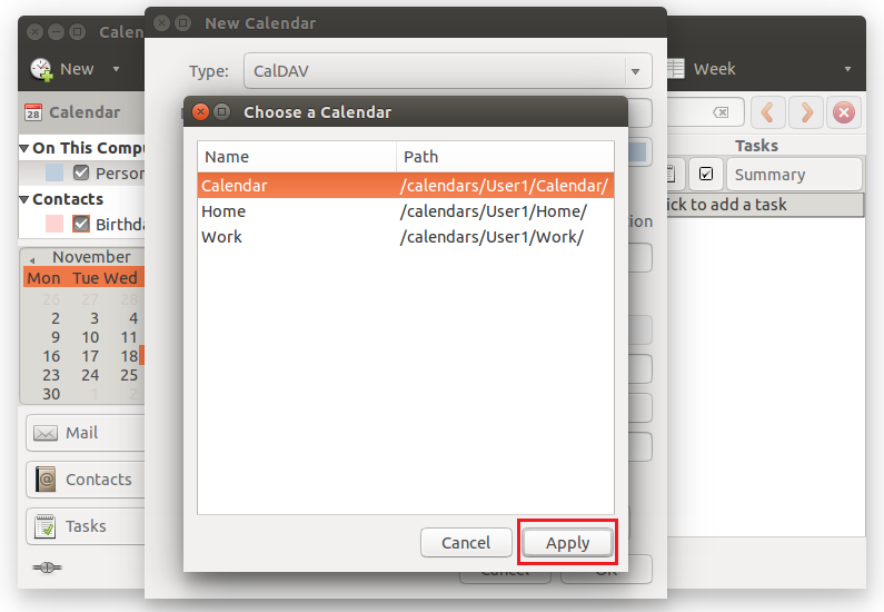 Choose a calendar for synchronization and click Apply.