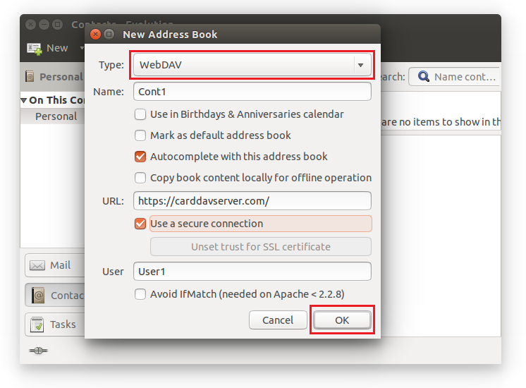 Select CardDAV option, enter Name of Address Book, specify URL, provide User name. Click OK.