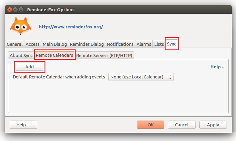 Select Sync tab, then switch to Remote Calendars and click Add.