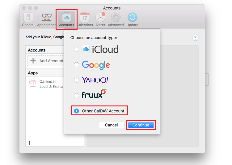"Select Accounts tab. Click ""+ Add Account"" button. Select Other CalDAV Account."
