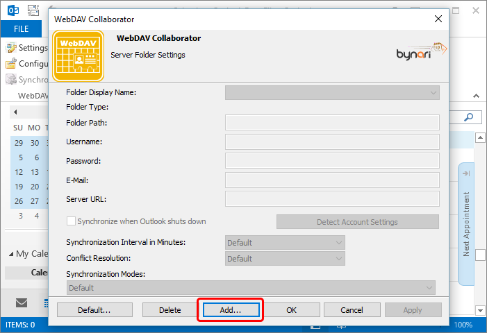 In the Server Folder Settings dialog select Add