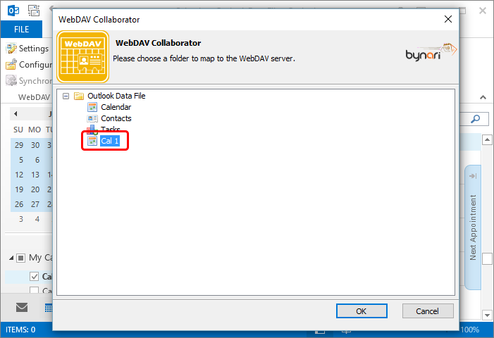 Select folder that will keep your CalDAV calendar