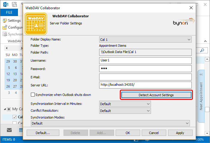 Specify the complete CalDAV calendar URL in the Server URL field. In the Username and Password fields provide your credentials, select Detect Account Settings