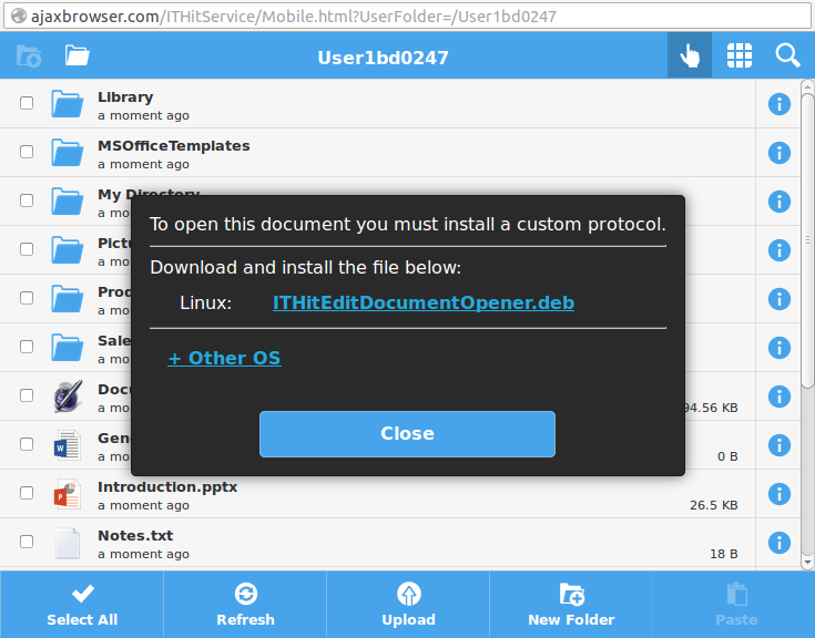 Download protocol installer application dialog example.