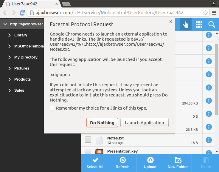 External Protocol Request dialog in Chrome.