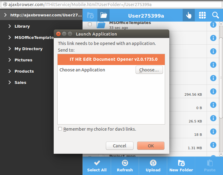 Protocol Launch Application dialog in Firefox.