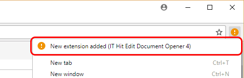 Notification that a IT Hit Edit Document Opener Chrome extension was added.