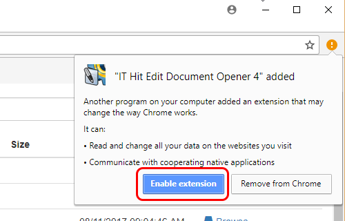 Enable IT Hit Edit Document Opener Chrome extension.