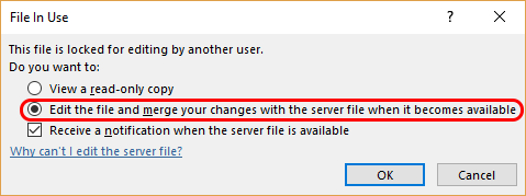 WebDAV MS Office Merge dialog. User selects: Edit the file and merge your changes with the server file when it becomes available.
