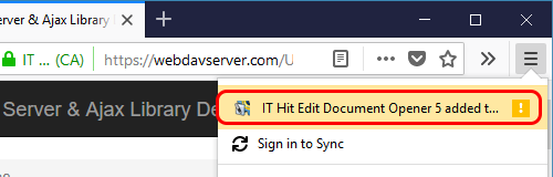 Edit Document Opener web browser extension confirmation in FireFox