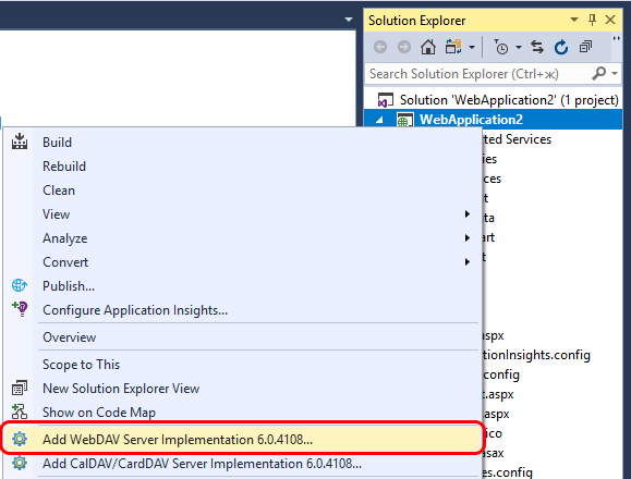 Select Add WebDAV Server Implementation option in context menu