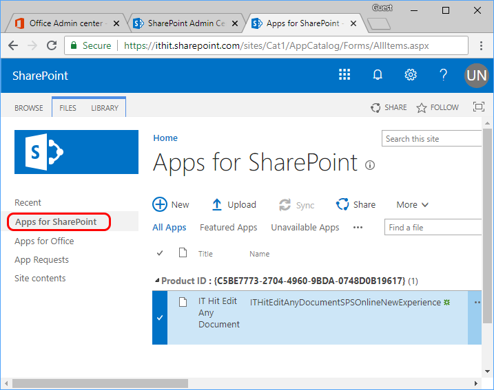 Upload IT Hit SharePoint extension or add-in to SharePoint catalog.