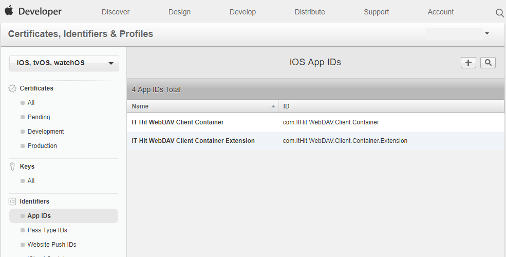 Create 2 Apple iOS App IDs. One will be used for container application another – for extension.