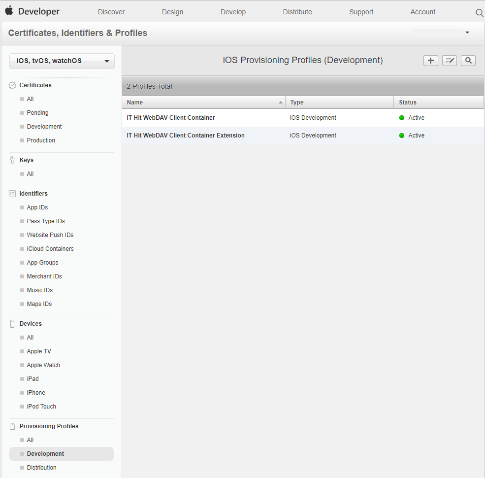 Create provisioning profiles for your container application and for extension.