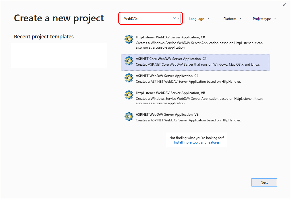 Search for WebDAV in Visual Studio Create New Project dialog