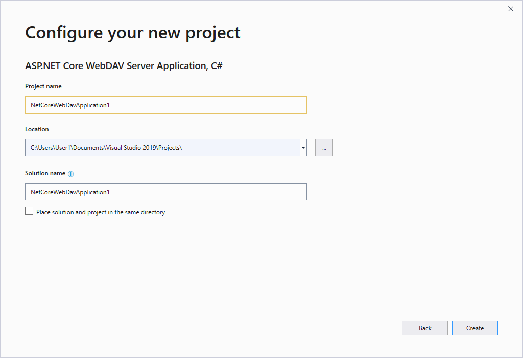 Specify WebDAV project name and location