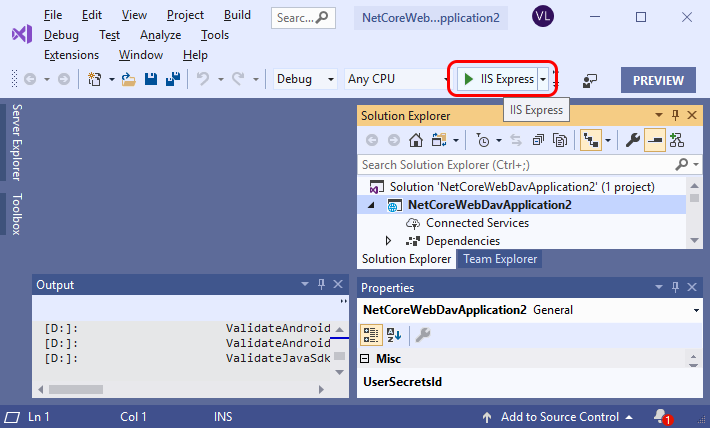 Run your WebDAV server from Visual Studio with Start Debugging