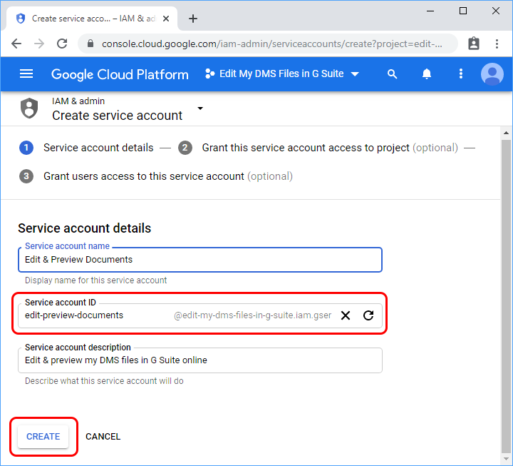 Service account ID field (client_email) will be user when creating G Suite Engine.