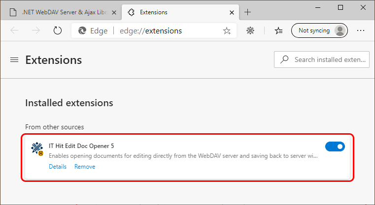 Make sure IT Hit Edit Document Opener extension is enabled in the Extensions list in Microsoft Edge Chromium