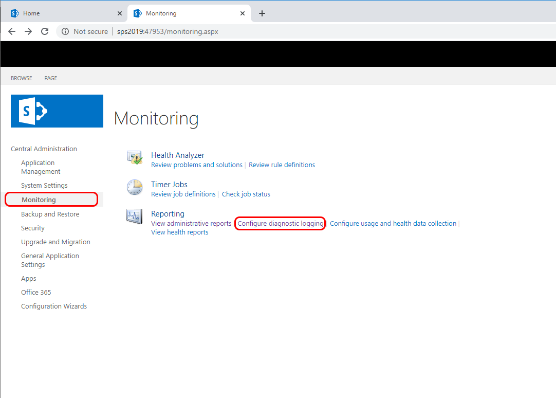 The SharePoint log location can be found on the SharePoint Administrative website under Monitoring -> Configure Diagnostic Logs